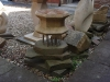 Bird bath, can be made into a waterfall,Syreford limestone, stainless steel bar and forest of dean sandstone.        