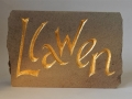 Llawen, hand carved and gilded  Forest of Dean sandstone.£115