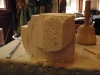 early stages of stone carving of Bull Mastiff