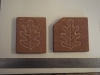 Pair of Forest of Dean sandstone Coasters with oak leaf motif