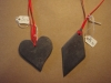 Welsh slate shapes on red ribbon, various prices. Different sizes made to order. 
