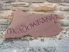 House name, Forest of Dean Sandstone, Painted Plum.