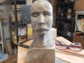 Clay maquette of George Hyatt. Work in progress