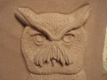 Carving of a White Faced Owl in Forest of Dean SAndstone. Commission