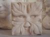 Green man, portland limestone, 4& 3/4 inch square.