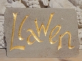 Llawen, hand carved and gilded Forest of Dean sandstone. £115.