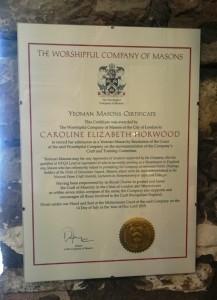 Yeoman Mason Certificate