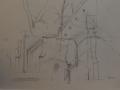 Rough sketch over garden to Tithe Barn