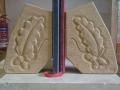 Acorn and oak leaf bookends, tetbury limestone