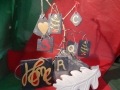 Christmas decorations, Christmas trees and hearts  £5 each, painted letters £4 each