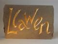 Llawen, hand carved and gilded  Forest of Dean sandstone.£115