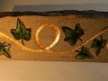 Ivy and scroll, hand carved Forest of Dean sandstone, painted and gilded, £70