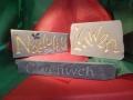 Nadolig £129 Llawen £115, Hand carved Forest of Dean sandstone. Smile Hand carved Welsh slate,£75
