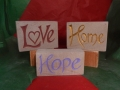 Love, hand carved and painted £48, Home, hand carved and painted £48, Home, hand carved and painted £48