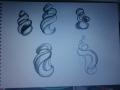 sketch for broken seashell