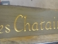 Forest of Dean sandstone handcarved house sign with gold leaf inlay