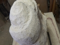 Start of new seashell inspired carving. Hand carved Painswick limestone.