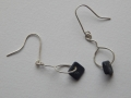 Welsh slate and Sterling silver earrings round