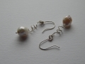 Pearl spiral earrings with sterling silver.