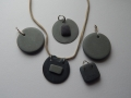 Welsh and Cornish slate and silver pendants