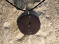 2 piece Welsh slate pendant with sterling silver stitching and bezel. NFS