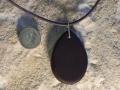 Ovoid Welsh slate pendant with sterling silver bezel