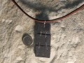 3 piece Welsh slate pendant with sterling silver wire.
