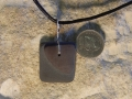 Blue and Heather welsh slate pendant with sterling silver bezel