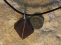 Diagonal Welsh slate pendant with sterling silver wire