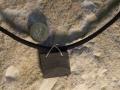 Welsh slate pendant with sterling silver cross over bezel.