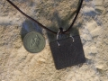 Welsh slate pendant with twisted sterling silver bezel
