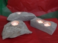 Tealight holders , Hand carved Forest of Dean sandstone, one of them has an Oak leaf and acorns carved on it, on the left£60, the other 2 prices are one at the back £22, One at the from £25.
